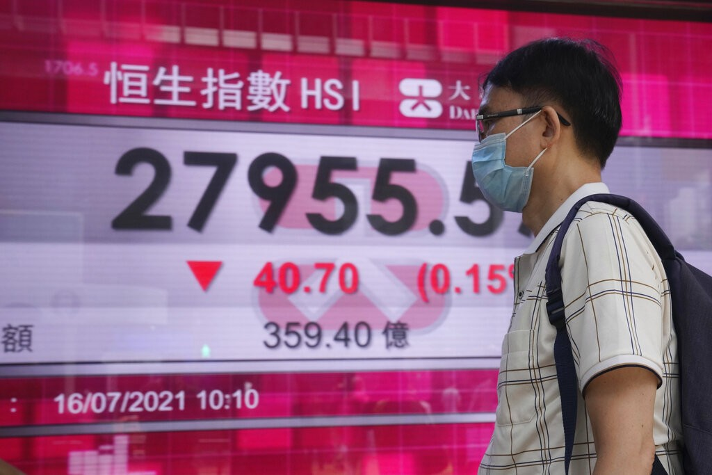 A man wearing a face mask walks past a bank's electronic board showing the Hong Kong share index in Hong Kong, Friday, July 16, 2021.