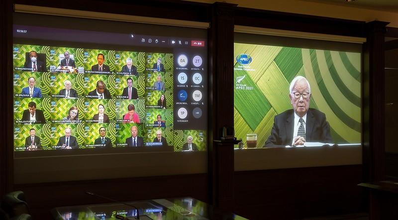 2021年亞太經濟合作會議(APEC)「非正式領袖閉門會議」已於台灣時間16日晚間7時至9時40分以視訊方式順利舉行 (圖/總統府)&nb...