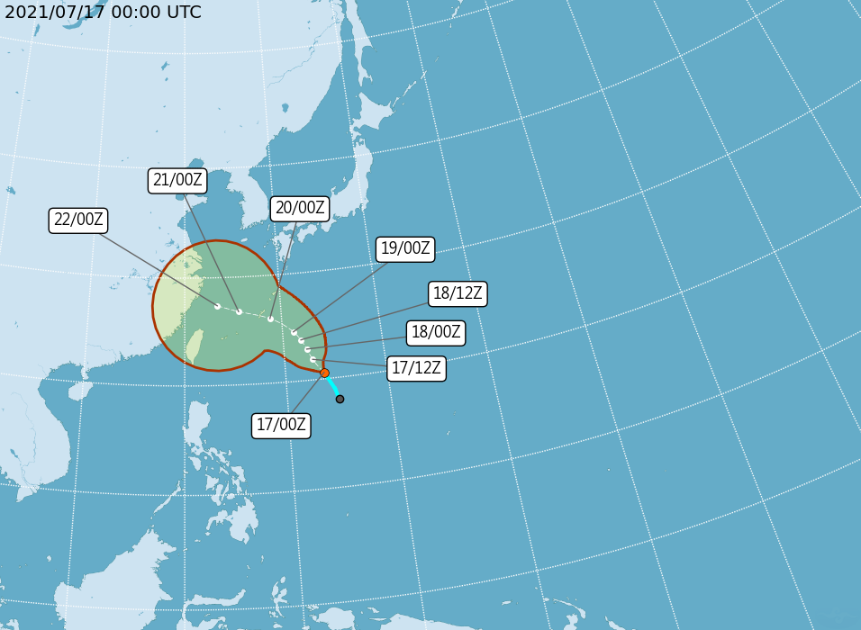 Tropical Storm In-Fa closest to Taiwan on July 22, according to current forecasts (Central Weather Bureau image)