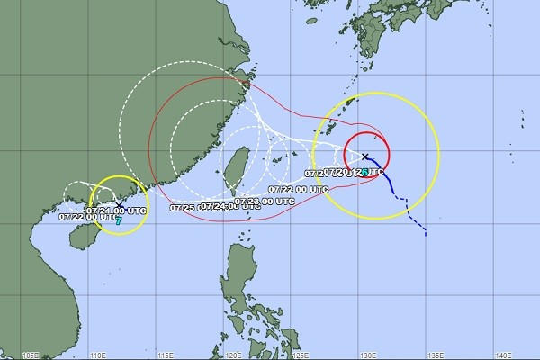 Map of In-Fa's predicted path. (JMA image)