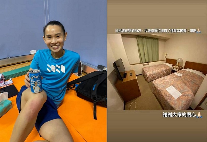 Taiwanese badminton player Tai Tzu-ying and the hotel room she's staying in during the Tokyo Olympics (Facebook photo, Instagram story screenshot)...