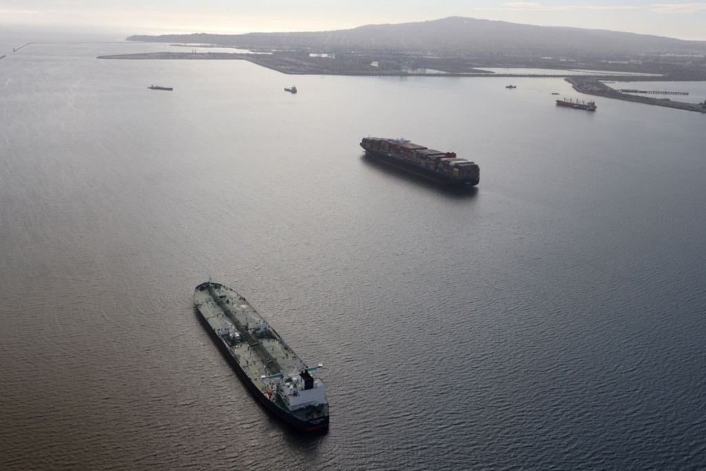 An oil tanker waits in line in the ocean outside the Port of Long Beach-Port of Los Angeles complex, amid the coronavirus disease (COVID-19) pandemic,...