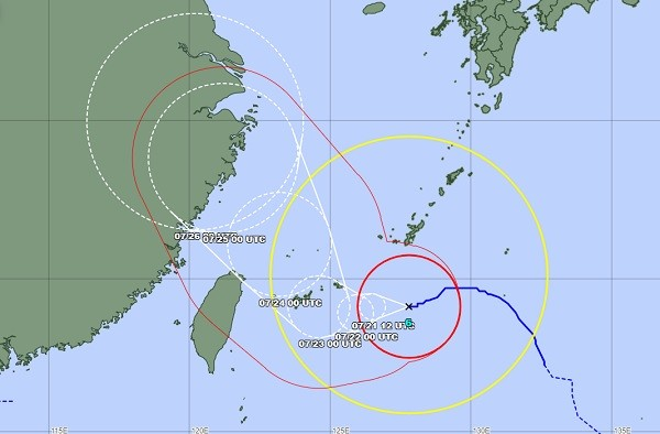 Typhoon In-Fa will bring heavy rain to Taiwan starting today