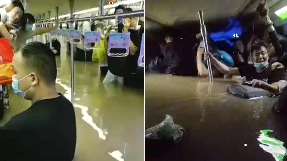 Passengerstrapped in flooded subway car in Zhengzhou, China. (Weibo images)