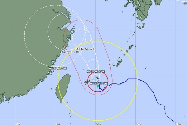 Typhoon In-Fa to come closest to Taiwan July 23-24