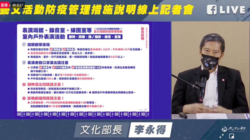 台灣行政院今(23)日宣佈防疫警戒將於7月27日將至第二級,針對藝文產業部分,文化部做出最新說明,戶外演出最多放寬到250人。(圖擷取自文...