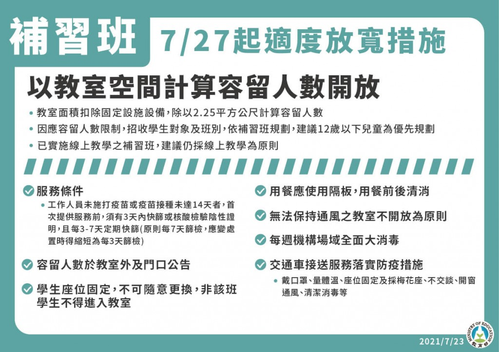 Cram schools in Taiwan can reopen if all staff vaccinated