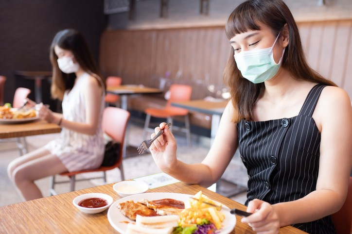 Woman waits until last second to take off mask before eating. (Getty images photo)
