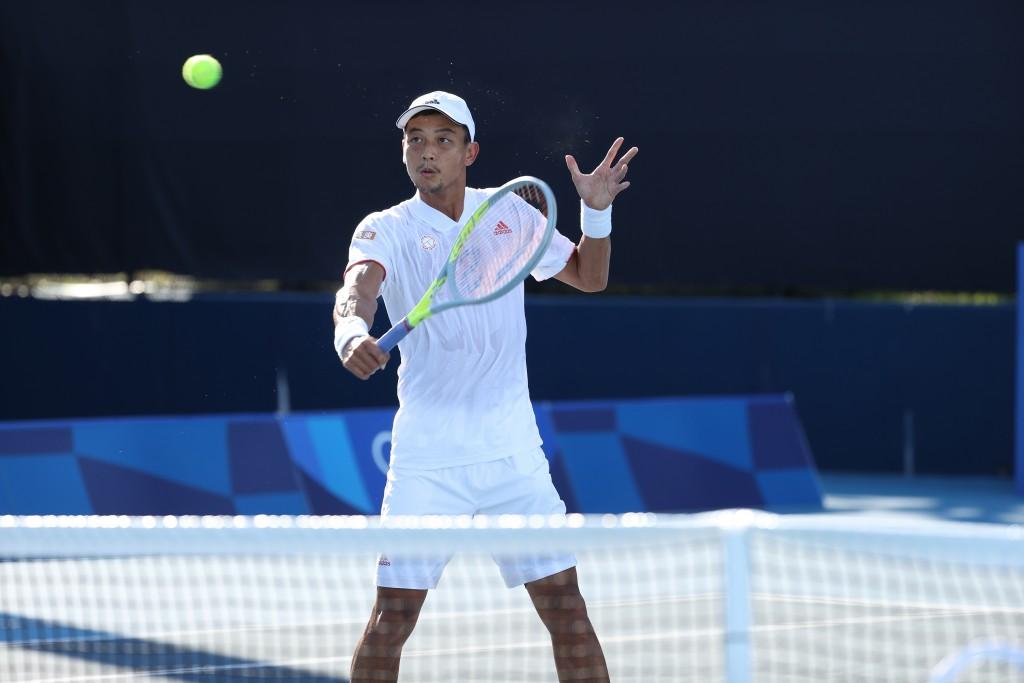 男子網球好手盧彥勳第5度代表台灣出征奧運, 圖為盧彥勳21日練習畫面。