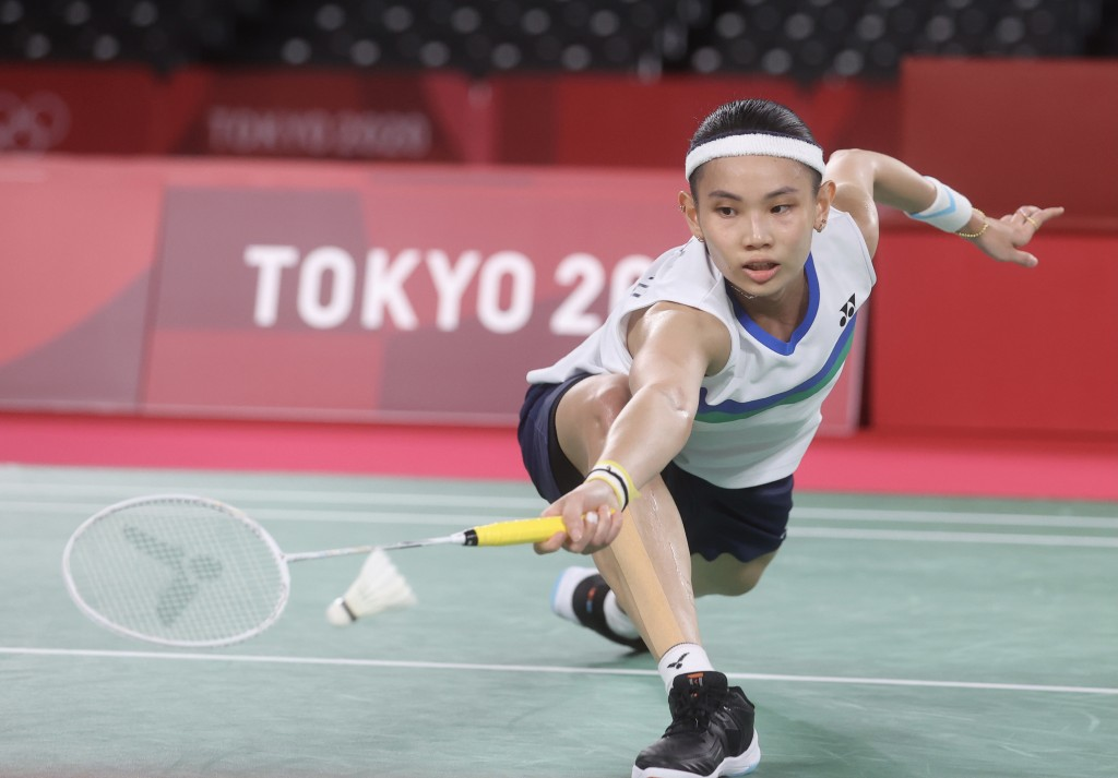 Tai Tzu-ying working her way to victory at the Tokyo Olympics Friday.