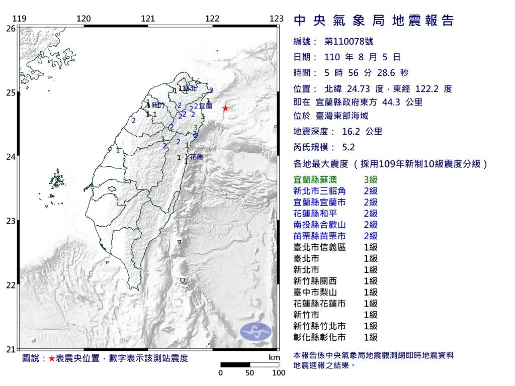 北台灣周四清晨地震 宜蘭外海最大芮氏規模6.1全台有感
