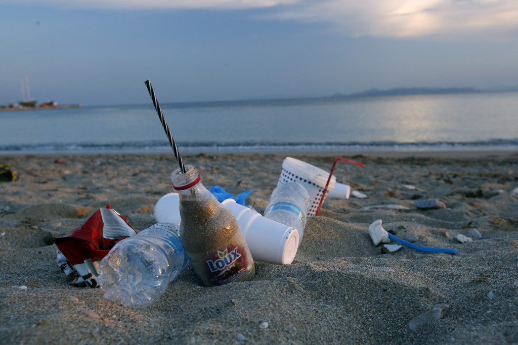 Plastic waste at beach. (Getty Images)
