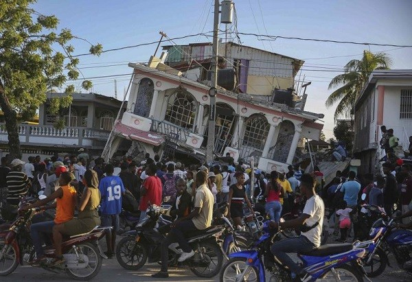 Petit Pas Hotel, destroyed by the earthquake in Les Cayes, Haiti, Saturday, Aug. 14, 2021.