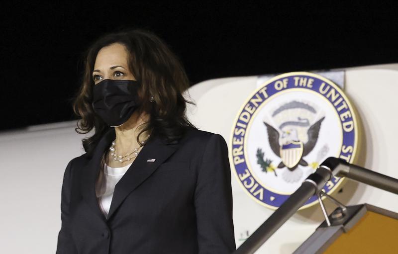 U.S. Vice President Kamala Harris arrives at the airport in Hanoi, Vietnam, Tuesday, Aug. 24, 2021. Harris is on a weeklong trip through Southeast Asi...