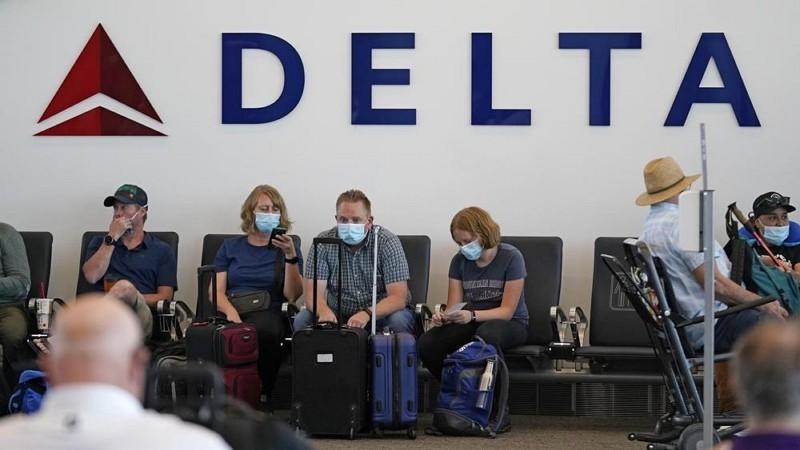 鹽湖城國際機場達美航空標示(圖/AP)