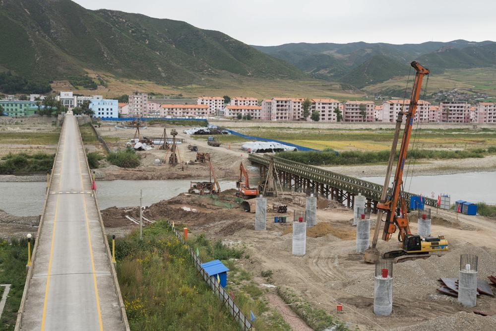 Construction work across the Tumen River on the border between China and North Korea.