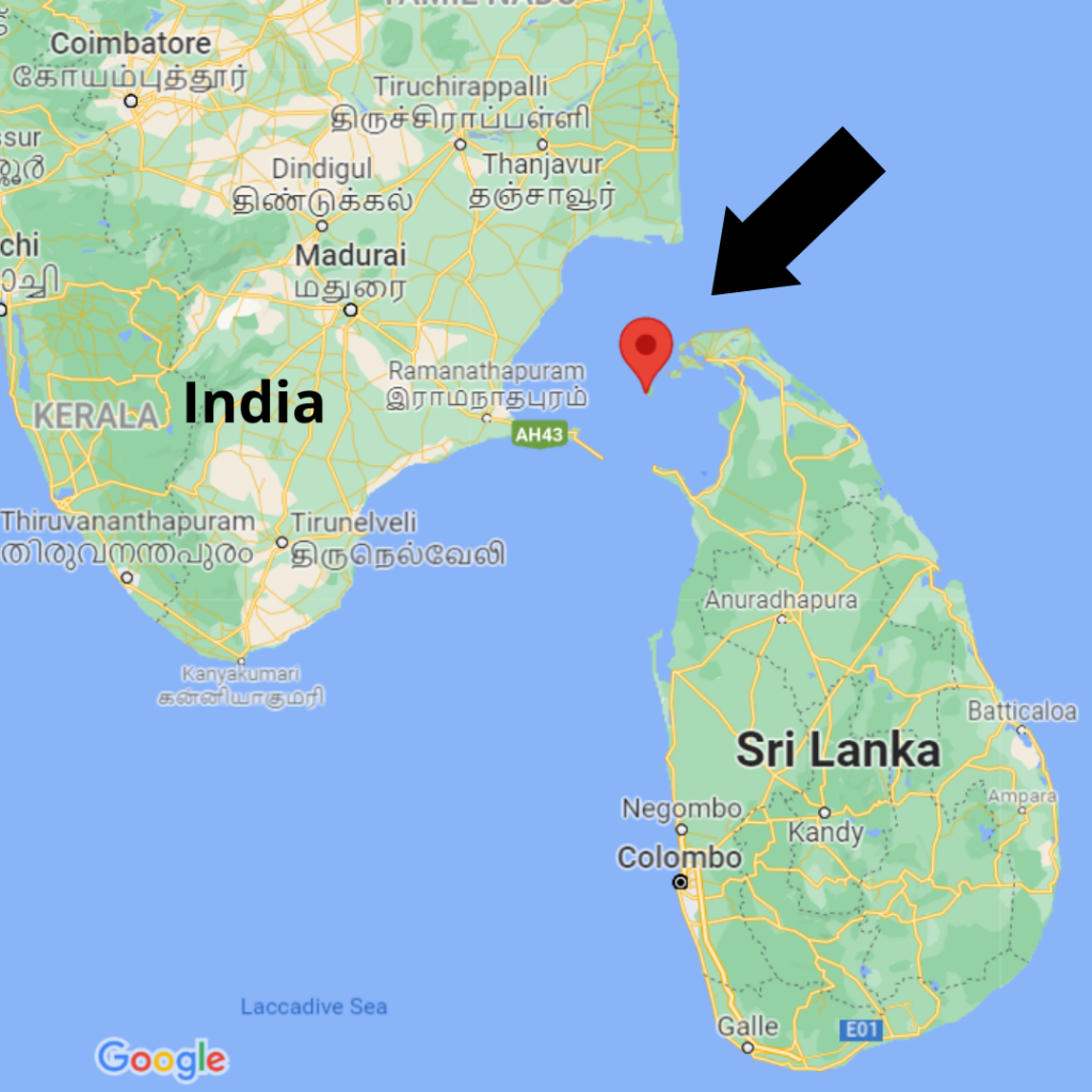 Location ofnew Chinese infrastructure projectbarely50 km off coast of India. (Google Maps screenshot)