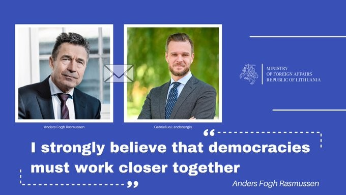 Former NATO leader Anders Fogh Rasmussen congratulates Lithuanian Foreign Minister Gabrielius Landsbergis for his stance on Taiwan. (Twitter, Lithuani...