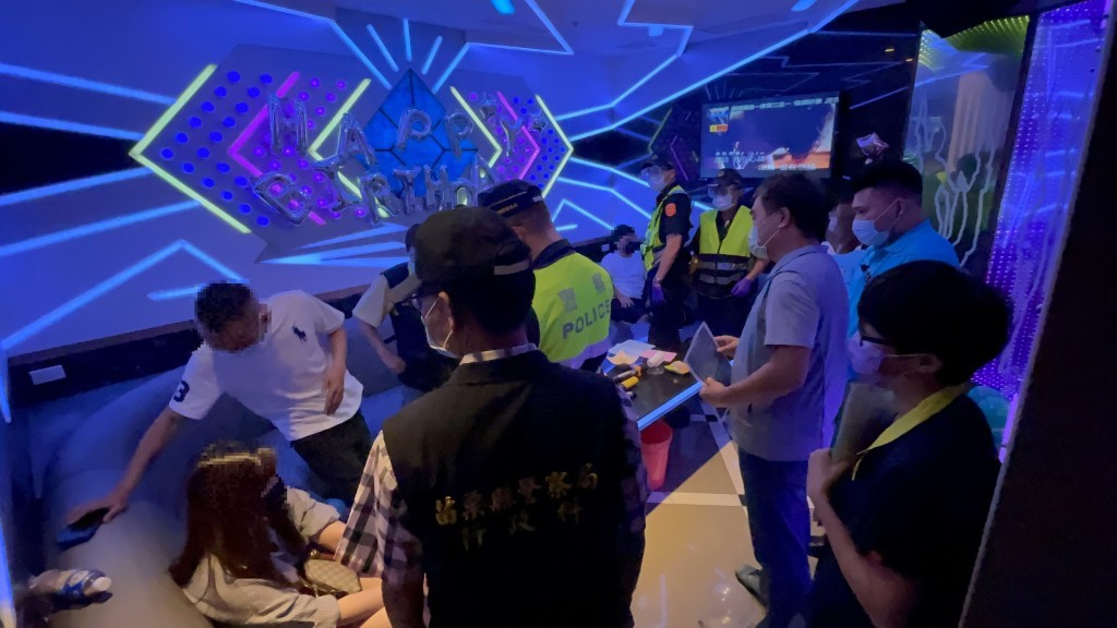 A police inspection of a club in Miaoli County before the May shutdown.