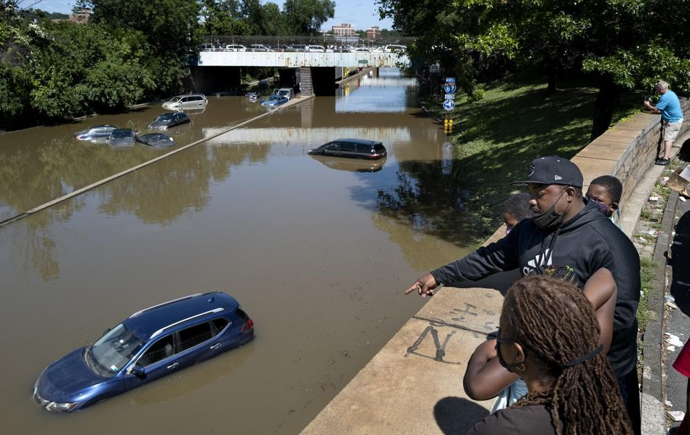 Cars and trucks are stranded by high water Thursday, Sept 2, 2021, on the Major Deegan Expressway in Bronx borough of New York as high water left behi...