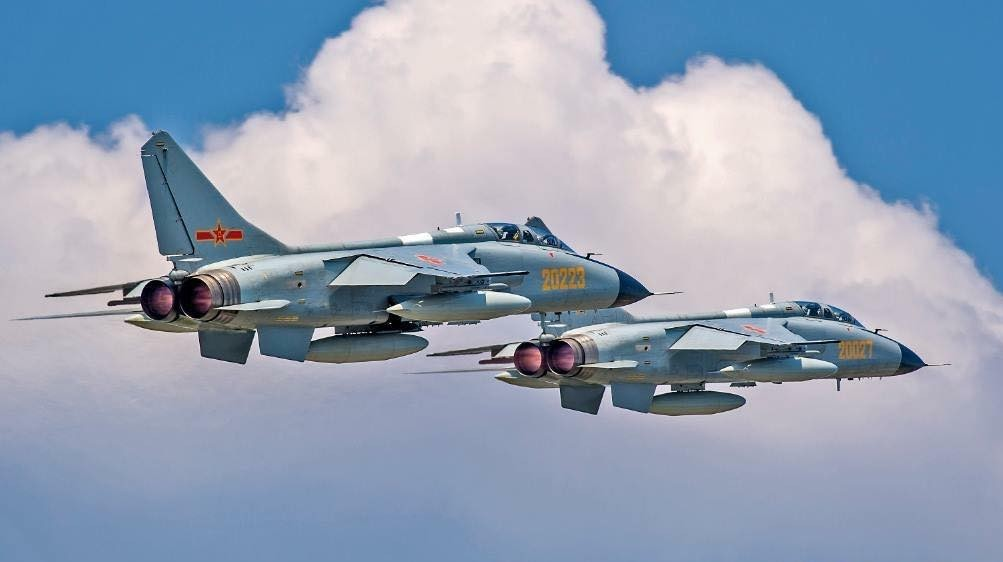 Two Xi'an JH-7 fighter-bombers (Weibo image).