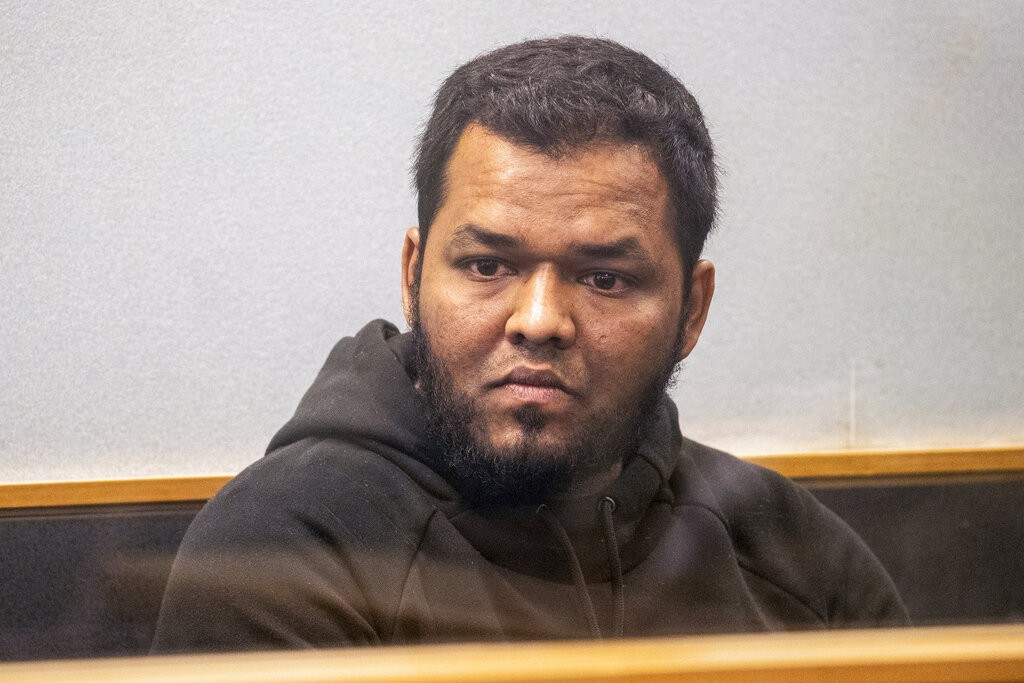 Ahmed Aathill Mohamed Samsudeen appears in the High Court in Auckland, New Zealand, Aug. 7, 2018, after he was found possessing a series of images whi...