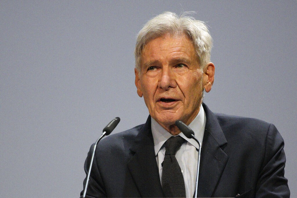 Harrison Ford delivers his speech during the IUCN World Conservation Congress, in Marseille, southern France, Friday Sept. 3, 2021.