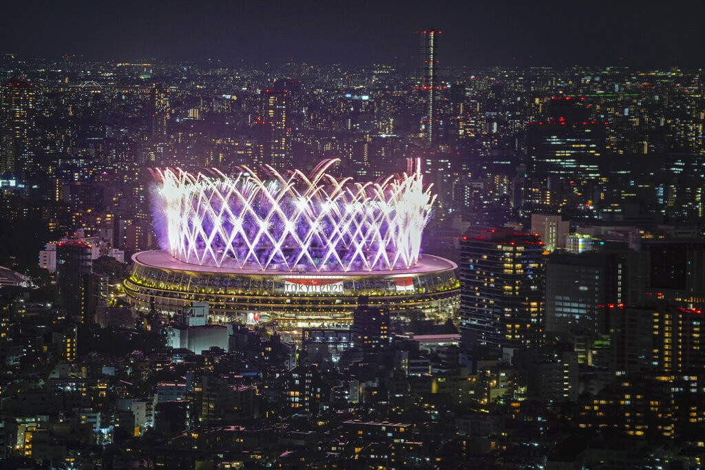 Fireworks illuminate over National Stadium viewed from Shibuya Sky observation deck during the closing ceremony for the 2020 Paralympics in Tokyo, Sun...