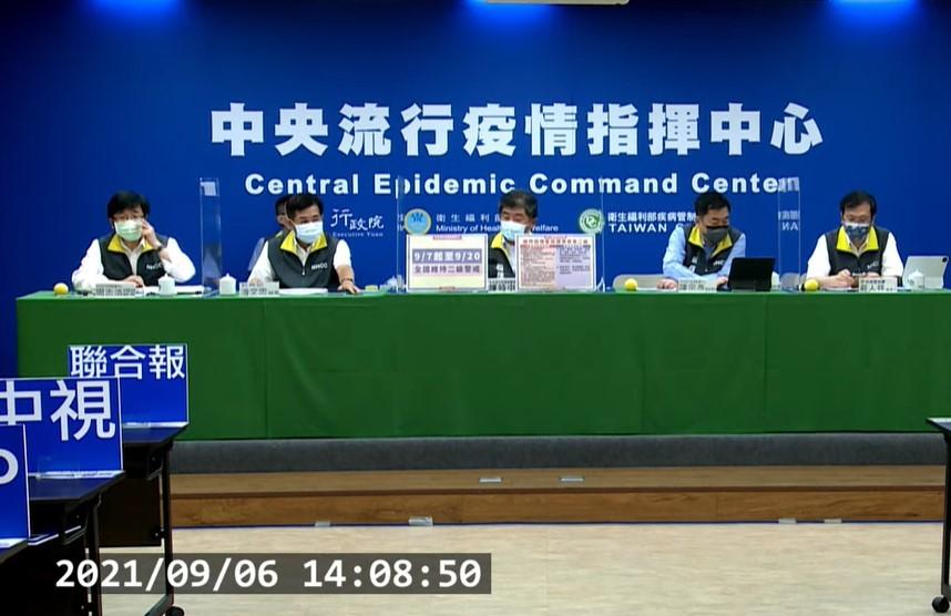 指揮中心宣布,自今(2021)年9月7日至9月20日維持疫情警戒標準為第二級。(截圖自中央流行疫情指揮中心記者會)