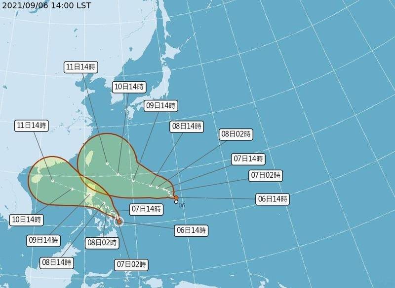 Map of predicted path of tropical depression (top)and Tropical Storm Conson. (CWB image)