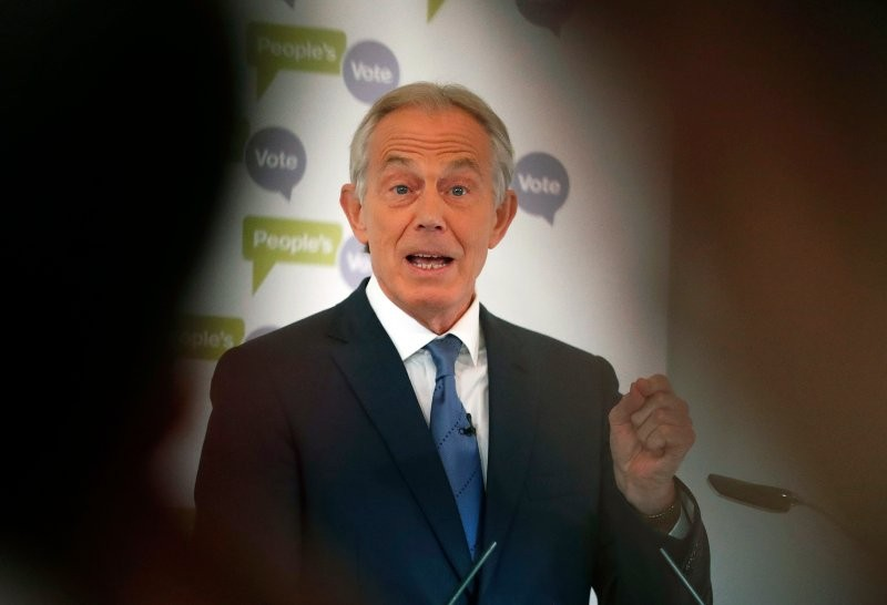 In this Friday, Dec. 14, 2018 file photo, Britain's former Prime Minister Tony Blair makes a speech on Brexit at the British Academy in Lond...
