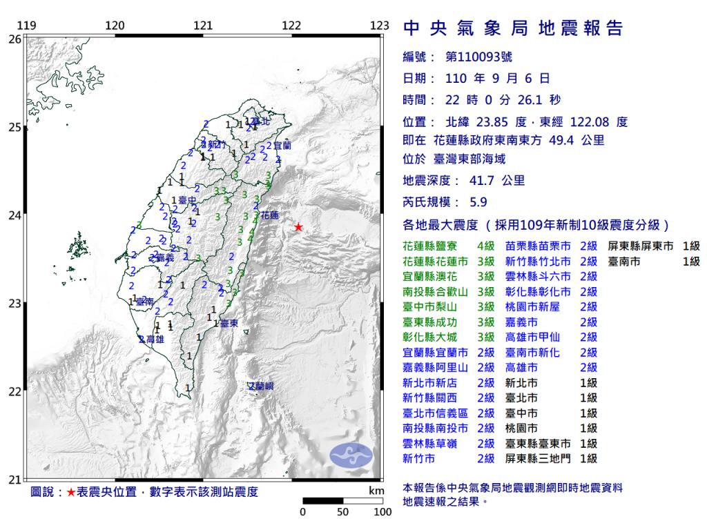 【快訊】台灣花蓮外海6日晚間10時發生芮氏5.9地震 全台各地顯著有感