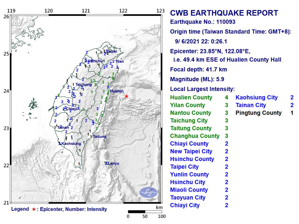 Map of magnitude 5.9 temblor. (CWB image)