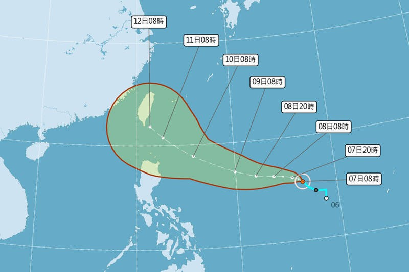 Map of Chanthu's projected path. (CWB image)