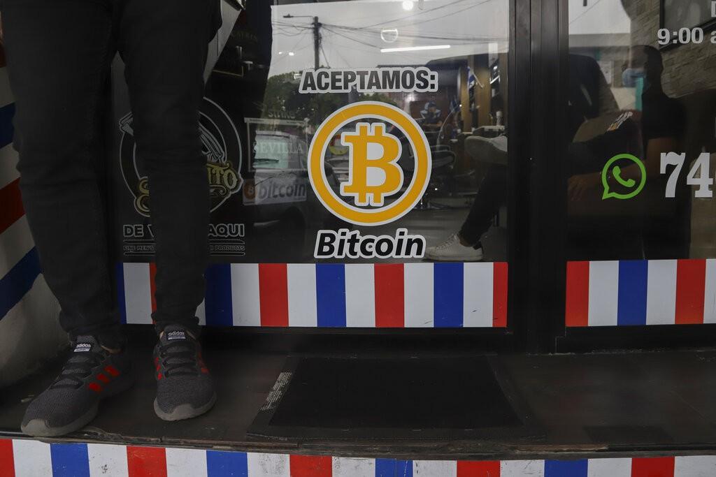 """""""We accept Bitcoin"""" is announced at a barber shop in Santa Tecla, El Salvador, Saturday, Sept. 4, 2021."""