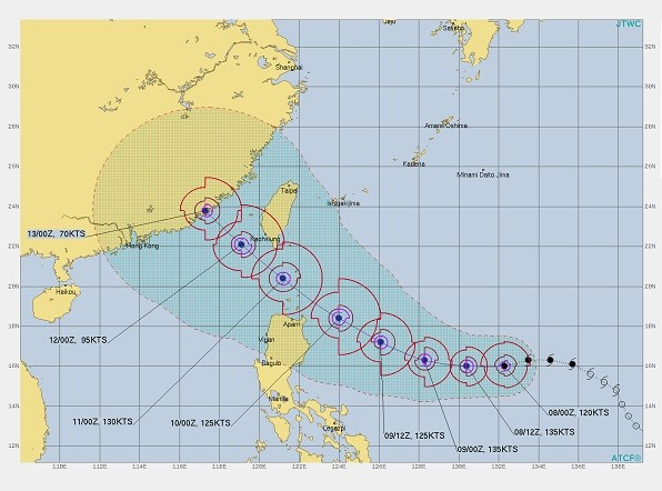 Map of Typhoon Chanthu's projected path. (JTWC image)