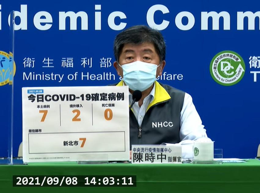 台灣9/8新增7例本土COVID-19確定病例。值得注意的是,新北板橋某幼兒園中有10例的基因定序結果出爐,皆屬Delta變異株。(截圖自...
