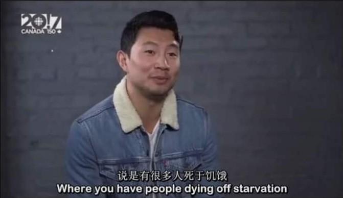 Liu speaking of people dying of starvation in China. (CBCscreenshot)