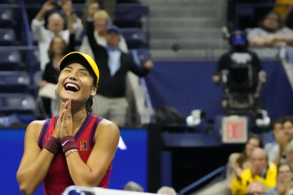 Sep 9, 2021; Flushing, NY, USA; Emma Raducanu of Great Britain celebrates after her match against Maria Sakkari of Greece (not pictured) on day eleven...