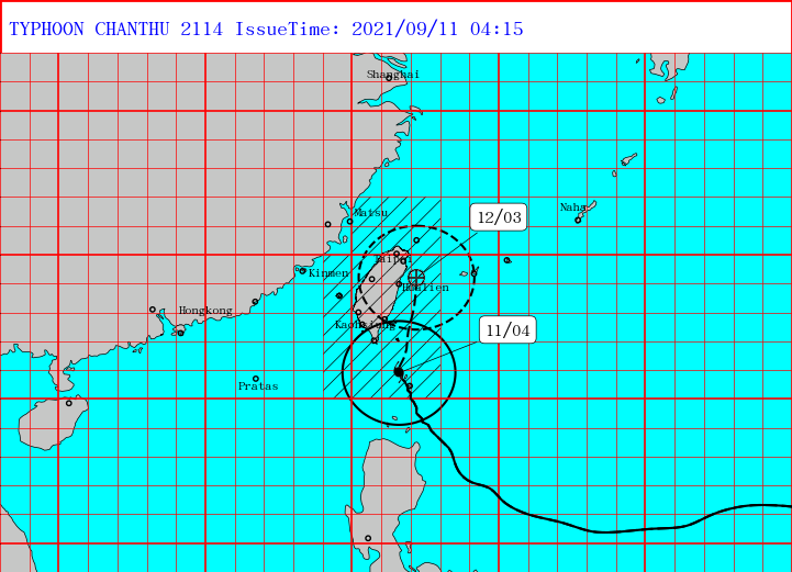 CWB sea and land warning for Super Typhoon Chanthu. (CWB image)