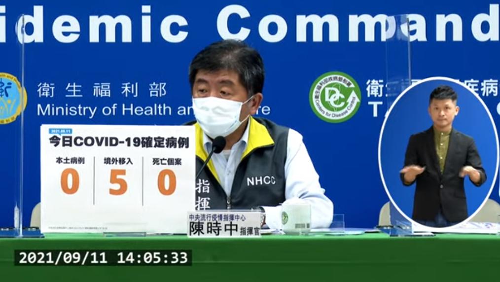 台灣今(11)日新增5例境外移入COVID-19確定病例(圖擷取自直播記者會)