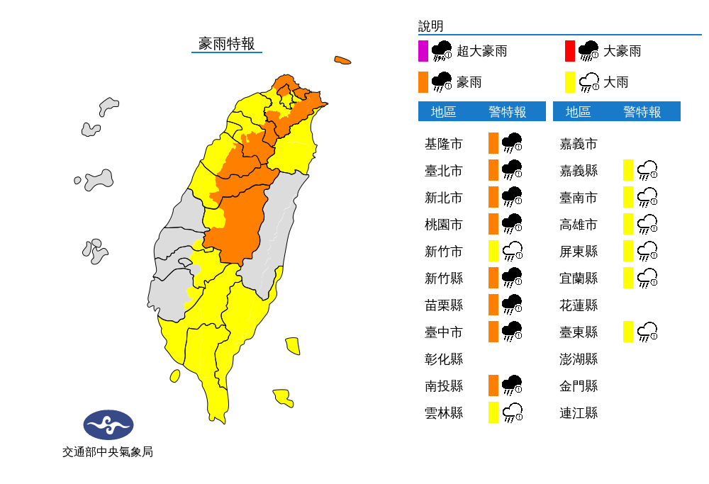 【中颱璨樹颱風假更新】北北基桃16縣市豪、大雨特報