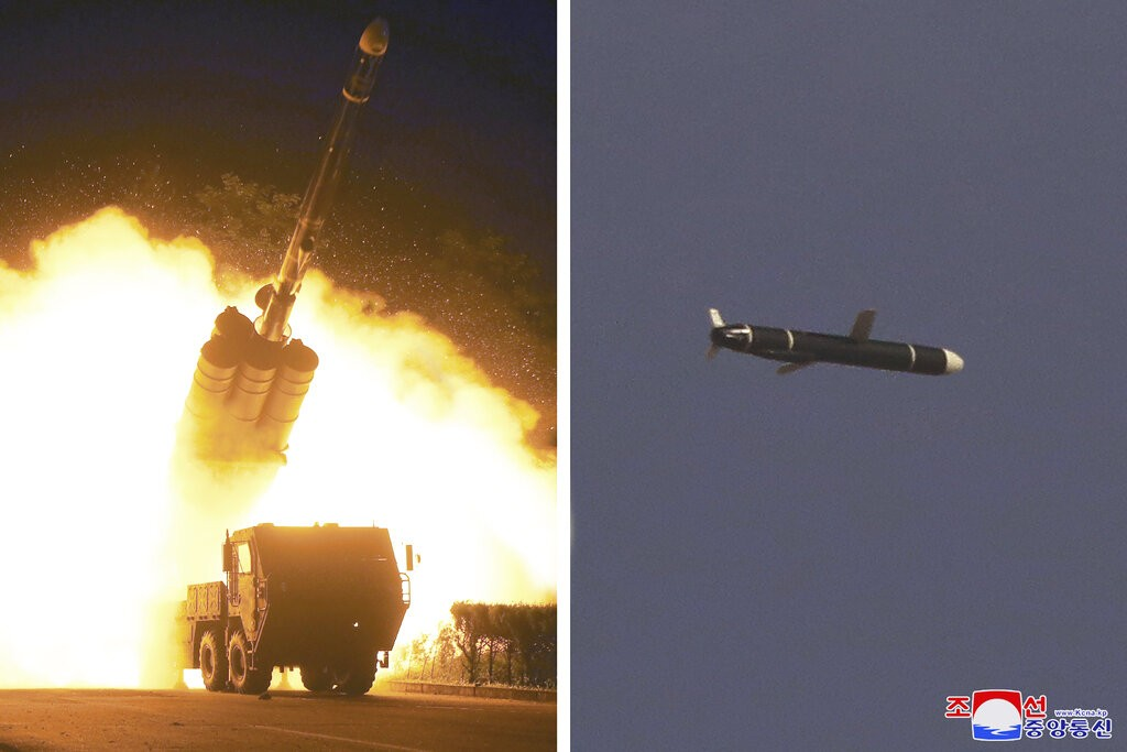 This combination of photos provided by the North Korean government on Monday, Sept. 13, 2021, shows long-range cruise missiles tests held on Sept. 11 ...