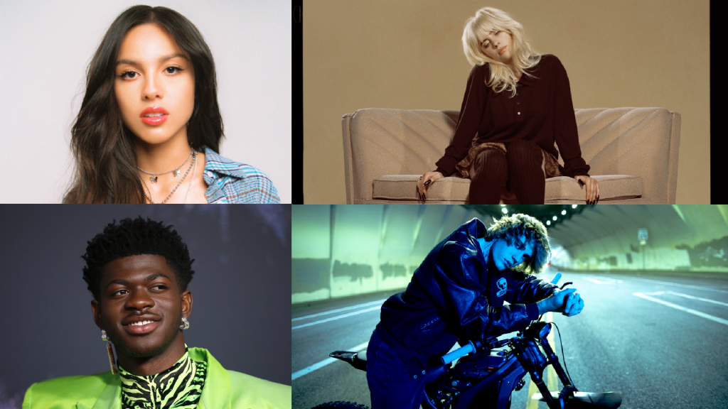 2021年西洋樂壇音樂盛事MTV大獎揭曉,小賈斯汀、怪奇比莉、納斯小子、奧莉維亞皆獲本次獎項。(圖/環球音樂、路透社)