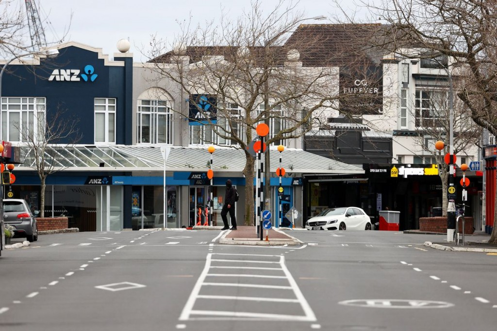 A normally busy road is deserted during a lockdown to curb the spread of a coronavirus disease (COVID-19) outbreak in Auckland, New Zealand, August 26...