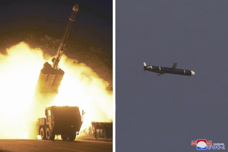 北韓官媒 KCNA於週一(13 日)發表這組照片,顯示上週末(11 日至 12 日)在北韓秘密地點進行的遠程巡航導...