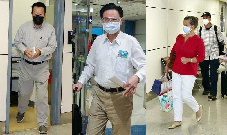 自左至右依序為顧立雄、吳釗燮、孫曉雅返回桃園機場情形 (原圖: 中央社/TN合成)