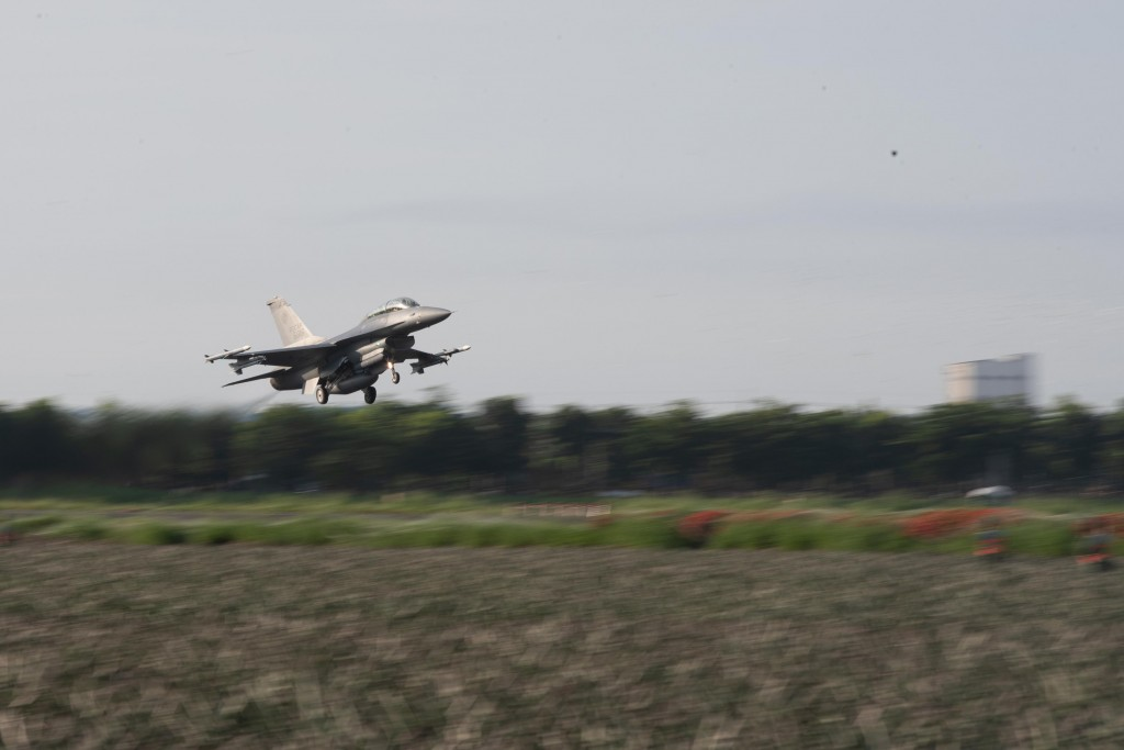 An F-16V jet taking part in the Han Kuang 37 drills Wednesday.