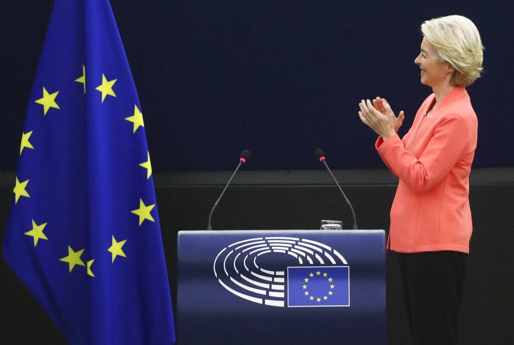 European Commission President Ursula von der Leyen applauds after delivering a State of the Union Address at the European Parliament in Strasbourg, Fr...