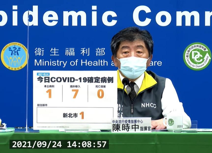 台灣9/24新增8例COVID-19確定病例,分別為1例本土個案,為新北市土城鴻海子公司工程師。(截圖自中央流行疫情指揮中心記者會)